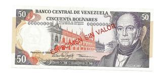 Especimen Billete 50 Bolivares Febrero 5 1998 Unc Om1