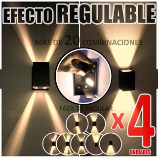 Aplique Difusor Pared Exterior 4 Unidades C/ Led Incluido 6w