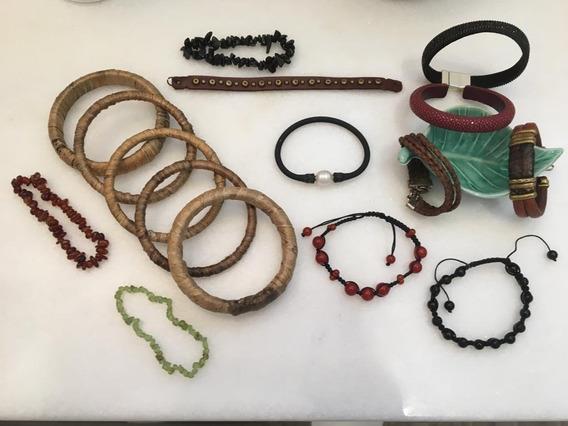 Conjunto Pulseiras Braceletes Couro Pedras