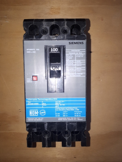 Interruptor Siemens 100amp