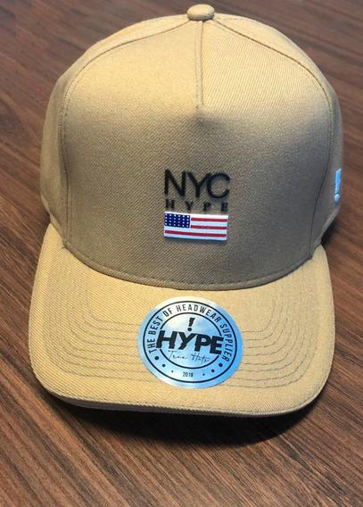 Boné Aba Curva Fitão Strapback Palha Nyc Ny New York City