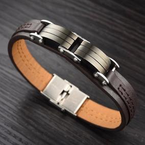 Bracelete Pulseira Masculina Couro Em Aço Inoxidável 316l