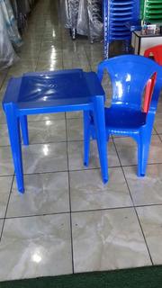 10 Jogos De Mesas C/40 Cadeiras Azul Sup 182kg Plástico