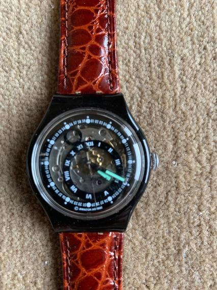 Relogio Swatch, Automatico, Na Cx. Como Novo.23 Rubis,couro
