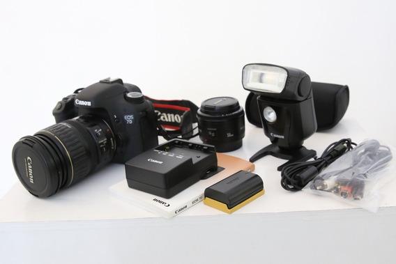 Camera Canon Eos 7d Nova! - Com Flash E Lentes 50mm