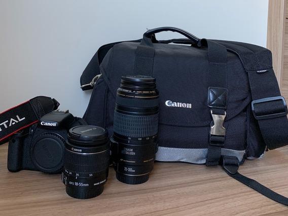 Câmera Eos Rebel T3i + 2 Lentes (18-55mm E 70-300mm) + Case