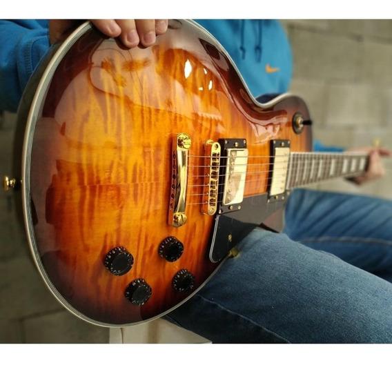 Guitarra Les Paul Sx Eh3d Ds Sunburst Preta Âmbar Rock.