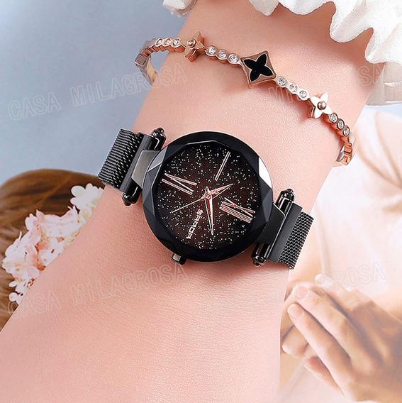 Relógio Importado Feminino Romano Luxo Casual Preto