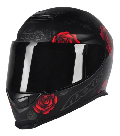 Capacete Moto Feminino Axxis Mt Flowers Preto Fosco Vermelho