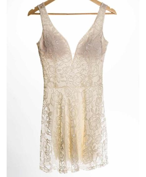 Vestido Curto De Renda Of White Com Tule Evasê