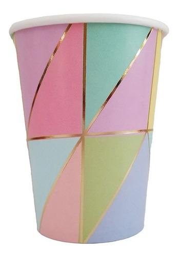 Vaso Polipapel Multicolor Rayas Dorado Cumpleaños Candy X6un