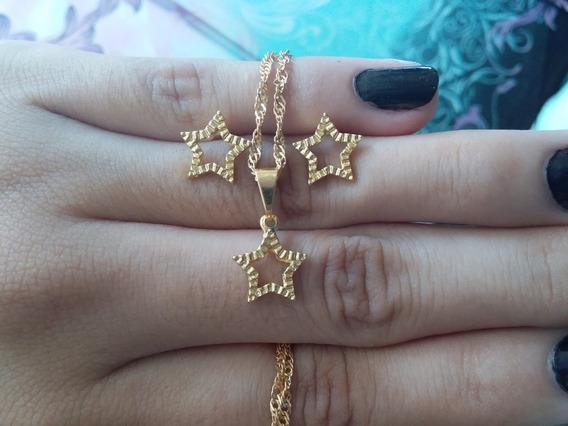 Conjunto De Colar E Brincos Estrela Banhada A Ouro