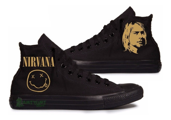 All Star Nirvana Tênis Converse Black Edition Custom
