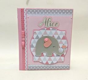 Álbum Fotos Do Bebê Elefante Rosa Scrapbook Personalizado