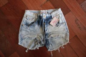 Shorts Cintura Alta - Jeans Com Lycra (últimas Peças)