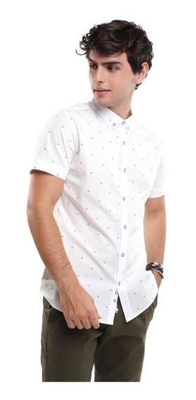 Camisa Hombre Micro Estampado Manga Corta Lob