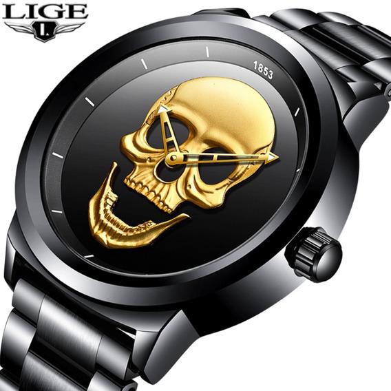 Relógio Original Caveira Lige 9876 Masculino Analógico Aço