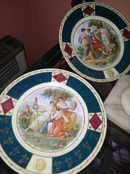 Par De Platos Decorativos En Porcelana Checa