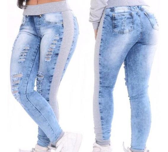 Calça Jeans Com Moletom Cintura Alta Feminina Lycra Rasgada