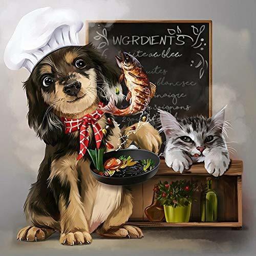 Diy Diamante D Pintura Por Los Kits De Perro Y Gato Coc...