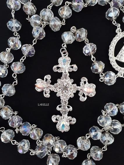 Terço Noiva Folheado, Cristal Vidro, Cruz Realeza C Swarovsk