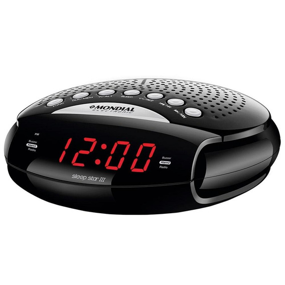 Rádio Portatil Mondial Rádio Am/fm, Funções Relógio E Alarme