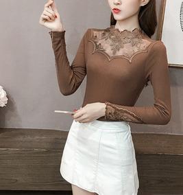 Camisa Feminina Blusa Social De Renda De Luxo Moda