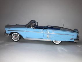 Miniatura Chevy Impala Conversível 1958 Azul 1:24 Motor Max