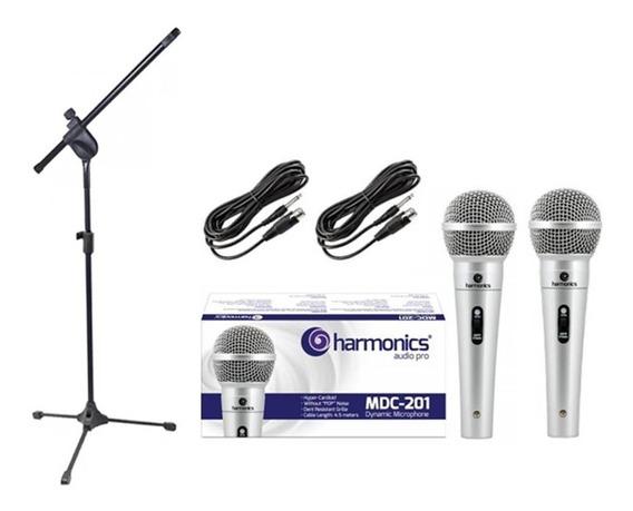 Kit 2 Microfones Profissional Mdc201+1 Pedestal Pmb+cachimbo