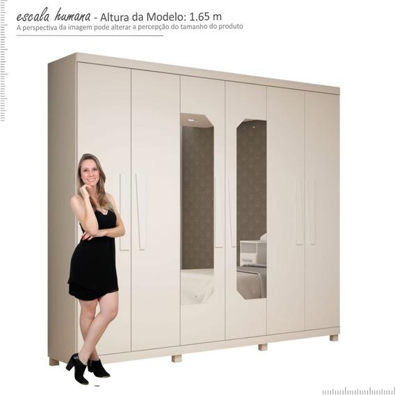 Guarda Roupa 6 Portas 2.72 Cm Infinity Com Espelho Branco