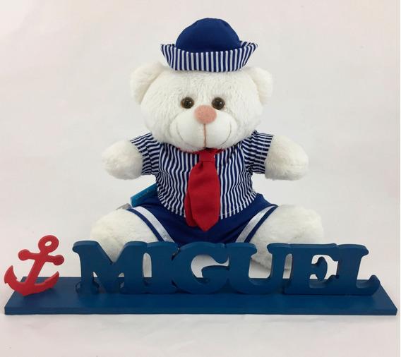 Enfeite Nome Emmdf Personalizado+ursinho Marinheiro De 20cm