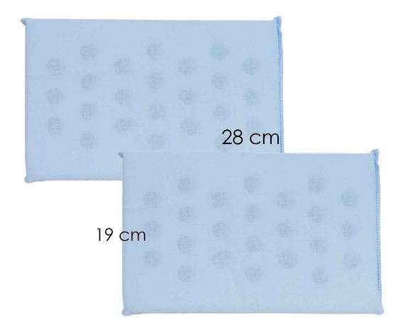 Travesseiro Anti-sufocante Azul Menino Menina 2 Peças
