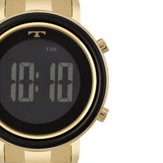 Relógio Feminino Technos Digital Dourado Preto Bj3059ac/4p Original