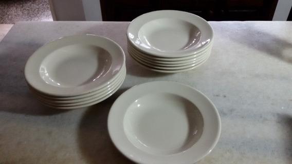 Lote De 3 Platos Hondos Porcelana Verbano.