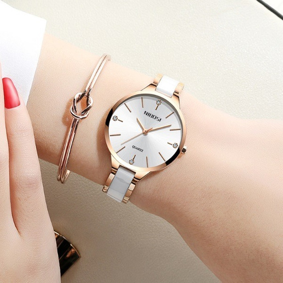 Relógio Nibosi Quartzo Feminino Moderna 2 Opções De Cores