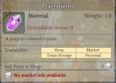 Practonium - Tree Of Savior (preço Por Unidade)