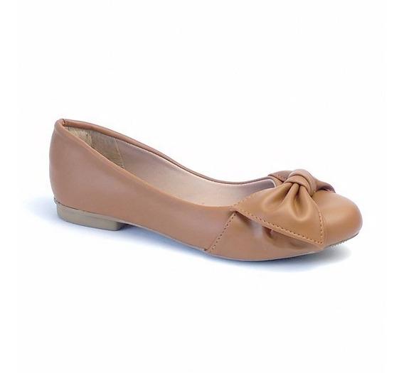 Sapatilha Sapato Feminina Caramelo Com Laço