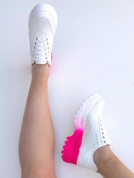 Tênis Super Chunky Sola Alta Flatform Neon Verde Branco Lima Pink Novo Blogueiras Treino Original 12x Frete Tendência