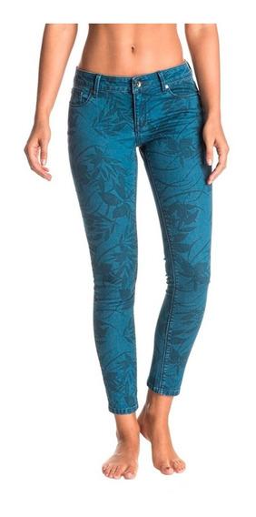 Jeans Mujer Pantalón Estampado Tonal Con Hojas Ajustado Roxy