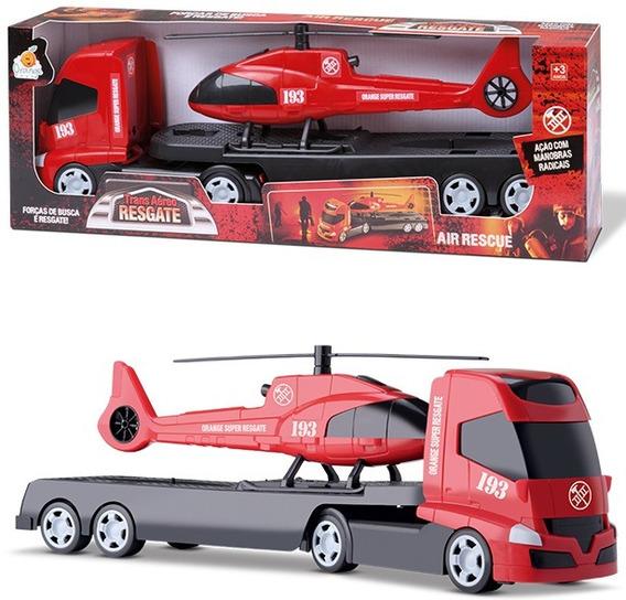 Brinquedo Caminhão Com Helicóptero Resgate Aéreo Orange Toys
