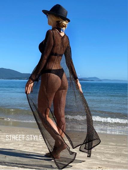 Kimono Largo Mujer Bordado 2019 Street Style