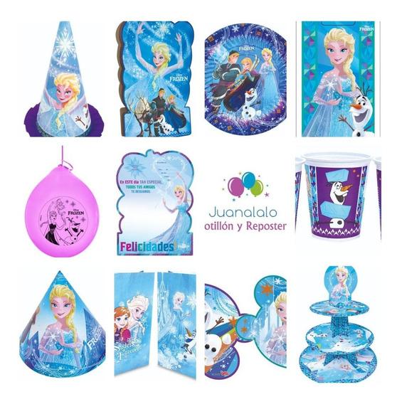 Combo Cotillon Frozen 30 Chicos Piñata Banderin Platos