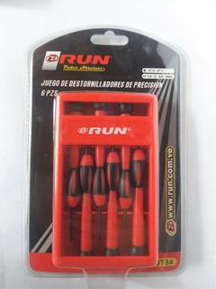 Juego 6 Piezas Destornilladores De Precisión Plástico Run