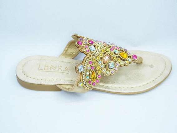 Sandalia Ojota Piedras Mujer Chatita Brillos Zapatos 83