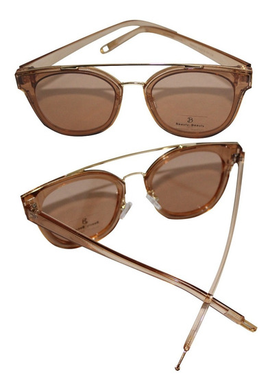 Óculos De Sol Dourado Redondo Feminino Uv400
