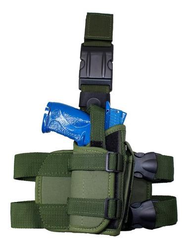 Coldre De Perna Modular Militar Tático Com Regulagem Verde