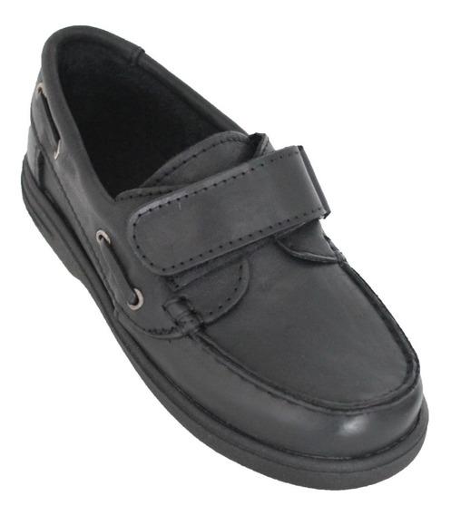 Zapatos Escolares Náuticos Con Velcro En Cuero - Vendo Lote