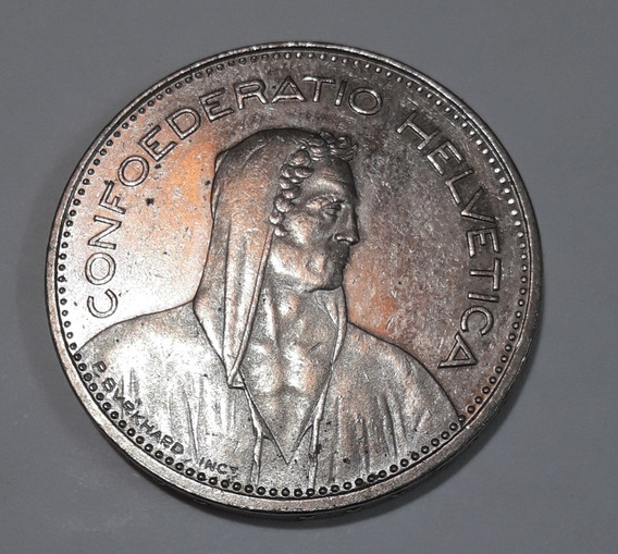 Moneda Suiza Confederatio Helvética 5fr Año 1984