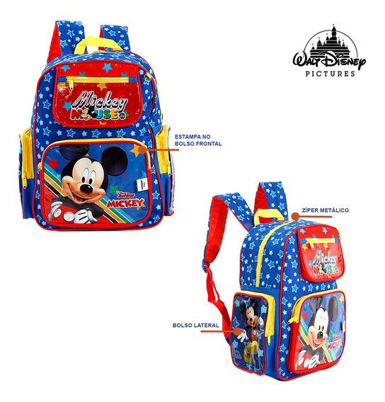 Kit Mochila Escolar Infantil Mickey Mouse Disney De Costas