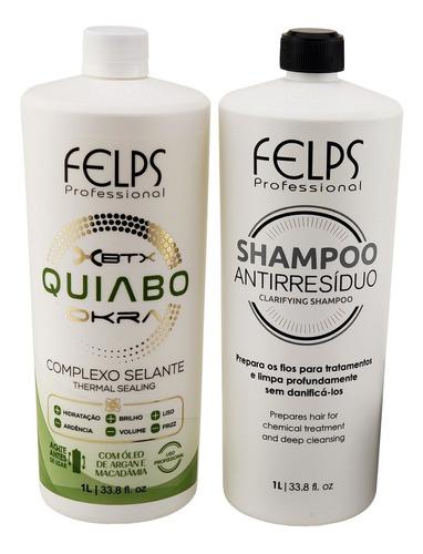 Imagem 1 de 4 de Felps Escova De Quiabo Profissional Shampoo+selante+brinde